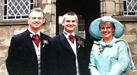 Rachel and Graham Pegler on son Neals wedding day 2002