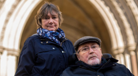 Noel Conway with his wife Carol outside the Royal Courts of Justice
